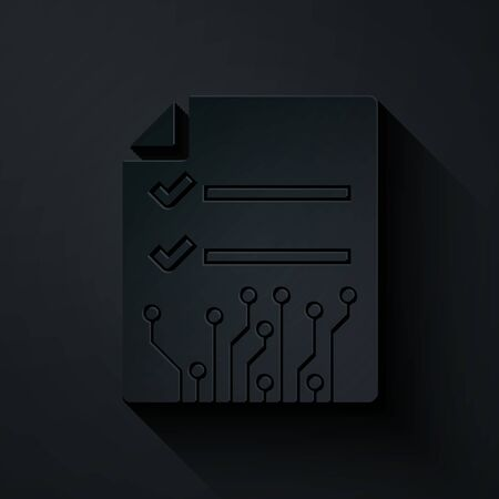 Paper cut Smart contract icon isolated on black background. Blockchain technology, cryptocurrency mining, bitcoin, altcoins, digital money market. Paper art style. Vector Illustration