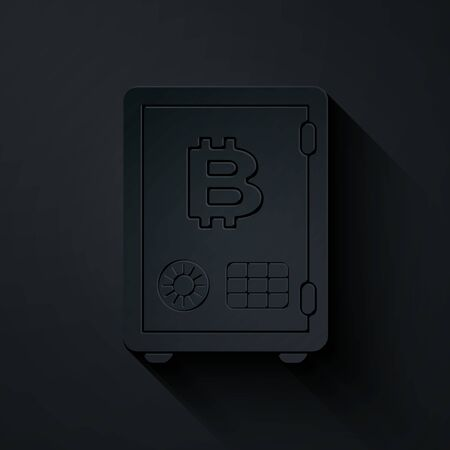 Paper cut Proof of stake icon isolated on black background. Cryptocurrency economy and finance collection. Paper art style. Vector Illustration  イラスト・ベクター素材