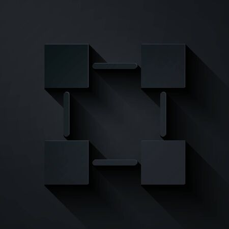 Paper cut Blockchain technology icon isolated on black background. Cryptocurrency data. Abstract geometric block chain network technology business. Paper art style. Vector Illustration