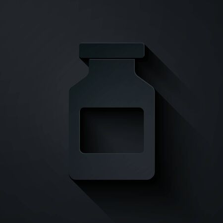 Paper cut Medicine bottle icon isolated on black background. Bottle pill sign. Pharmacy design. Paper art style. Vector Illustration