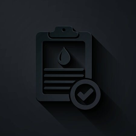 Paper cut Medical clipboard with blood test results icon isolated on black background. Clinical record, prescription, medical check marks report. Paper art style. Vector Illustration