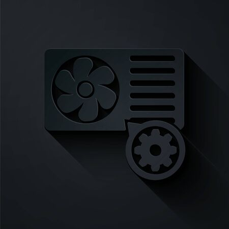 Paper cut Air conditioner and gear icon isolated on black background. Adjusting app, service concept, setting options, maintenance, repair, fixing. Paper art style. Vector Illustration Ilustração