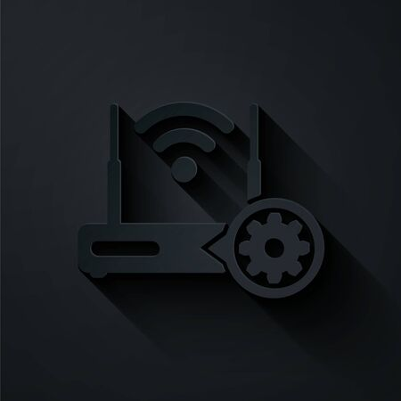 Paper cut Router and wi-fi signal and gear icon isolated on black background. Adjusting app, service concept, setting options, maintenance, repair, fixing. Paper art style. Vector Illustration