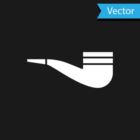 White Smoking pipe with smoke icon isolated on black background. Tobacco pipe. Vector Illustration Ilustrace