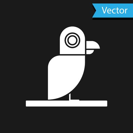 White Pirate parrot icon isolated on black background. Vector Illustration