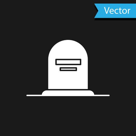 White Tombstone with RIP written on it icon isolated on black background. Grave icon. Vector Illustration  イラスト・ベクター素材