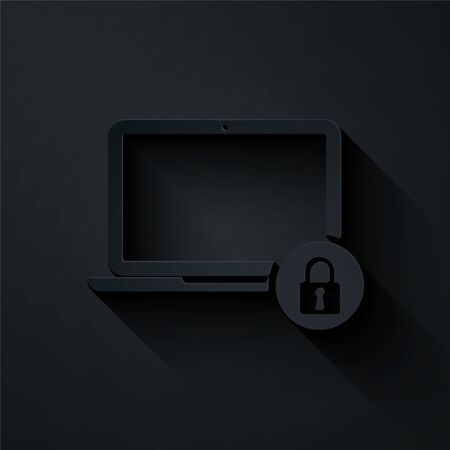 Paper cut Laptop and lock icon isolated on black background. Computer and padlock. Security, safety, protection concept. Safe internetwork. Paper art style. Vector Illustration Illustration