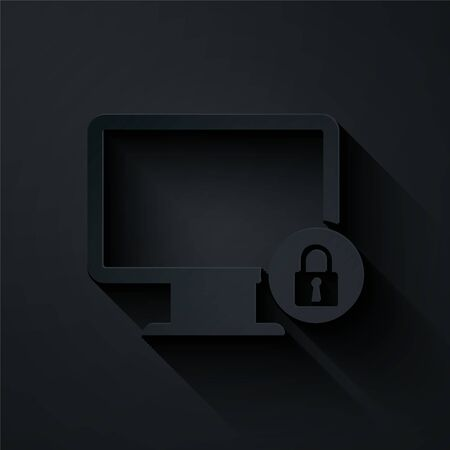 Paper cut Lock on computer monitor screen icon isolated on black background. Monitor and padlock. Security, safety, protection concept. Safe internetwork. Paper art style. Vector Illustration