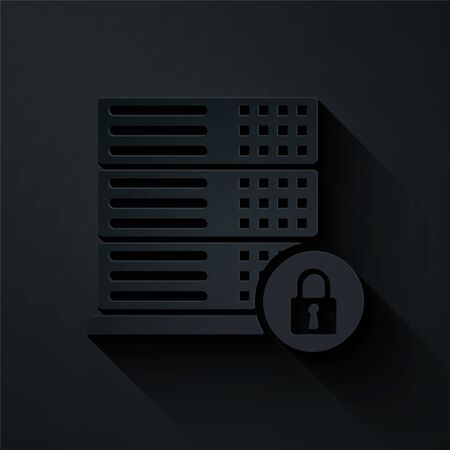 Paper cut Server security with closed padlock icon isolated on black background. Security, safety, protection concept. Paper art style. Vector Illustration