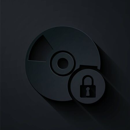 Paper cut CD or DVD disk with closed padlock icon isolated on black background. Compact disc sign. Security, safety, protection concept. Paper art style. Vector Illustration