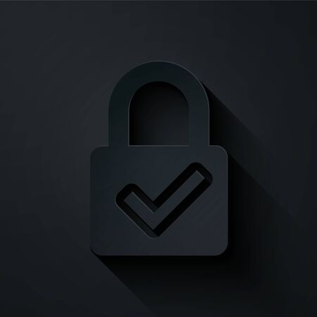 Paper cut Open padlock and check mark icon isolated on black background. Cyber security concept. Digital data protection. Safety safety. Paper art style. Vector Illustration Illustration