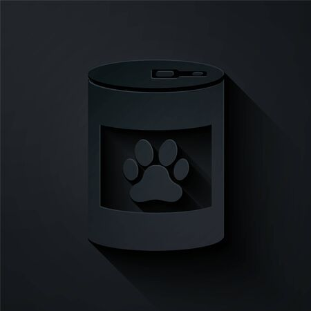 Paper cut Canned food icon isolated on black background. Food for animals. Pet food can. Dog or cat paw print. Paper art style. Vector Illustration 向量圖像