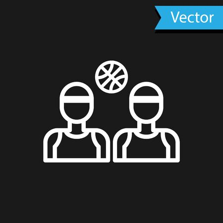 White Basketball players icon isolated on black background. Vector Illustration