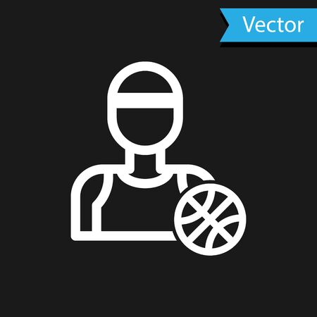 White Basketball player icon isolated on black background. Vector Illustration