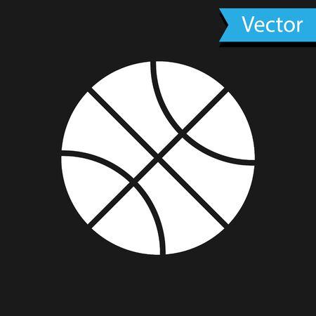 White Basketball ball icon isolated on black background. Sport symbol. Vector Illustration