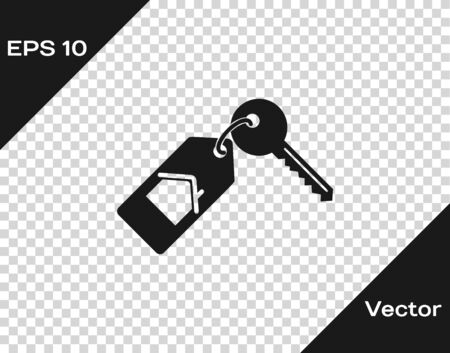 Grey House with key icon isolated on transparent background. The concept of the house turnkey. Vector Illustration