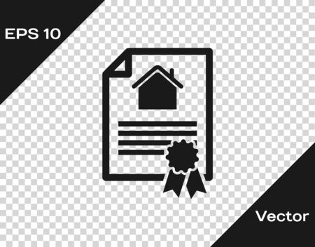 Grey House contract icon isolated on transparent background. Contract creation service, document formation, application form composition. Vector Illustration