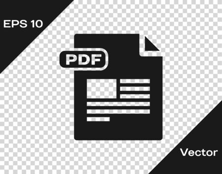 Grey PDF file document. Download pdf button icon isolated on transparent background. PDF file symbol. Vector Illustration