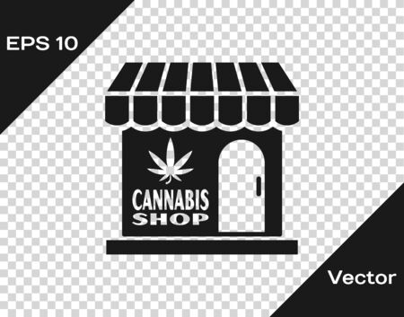 Grey Marijuana and cannabis store icon isolated on transparent background. Equipment and accessories for smoking, storing medical cannabis. Vector Illustration Ilustrace