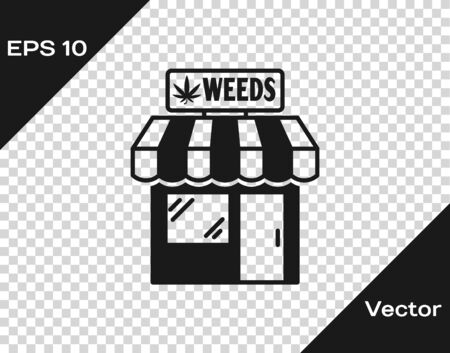 Grey Marijuana and cannabis store icon isolated on transparent background. Equipment and accessories for smoking, storing medical cannabis. Vector Illustration