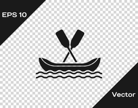Grey Rafting boat icon isolated on transparent background. Kayak with paddles. Water sports, extreme sports, holiday, vacation, team building. Vector Illustration