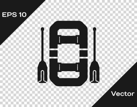 Grey Rafting boat icon isolated on transparent background. Inflatable boat with oars. Water sports, extreme sports, holiday, vacation, team building. Vector Illustration