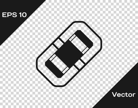 Grey Rafting boat icon isolated on transparent background. Inflatable boat. Water sports, extreme sports, holiday, vacation, team building. Vector Illustration