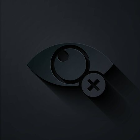 Paper cut Invisible or hide icon isolated on black background. Paper art style. Vector Illustration