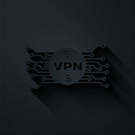 Paper cut VPN in circle with microchip circuit icon isolated on black background. Paper art style. Vector Illustration