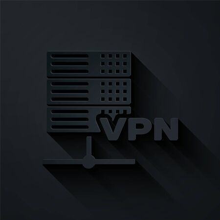 Paper cut Server VPN icon isolated on black background. Paper art style. Vector Illustration Illustration
