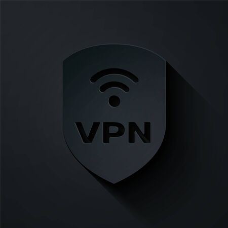 Paper cut Shield with VPN and wifi wireless internet network symbol icon isolated on black background. VPN protect safety concept. Paper art style. Vector Illustration Illustration