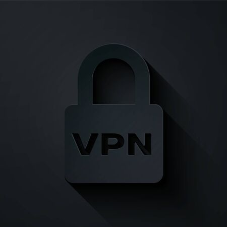 Paper cut Lock VPN icon isolated on black background. Paper art style. Vector Illustration