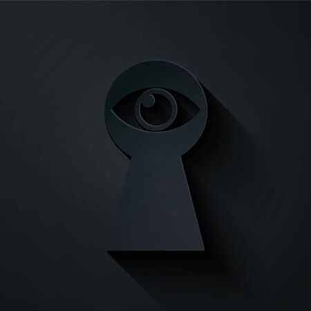 Paper cut Keyhole with eye icon isolated on black background. The eye looks into the keyhole. Keyhole eye hole. Paper art style. Vector Illustration Çizim