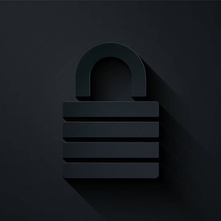 Paper cut Lock icon isolated on black background. Padlock sign. Security, safety, protection, privacy concept. Paper art style. Vector Illustration