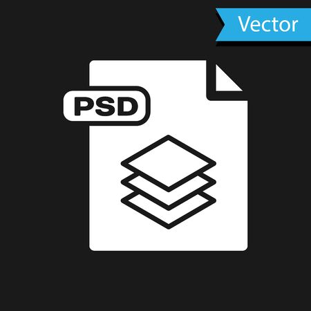 White PSD file document. Download psd button icon isolated on black background. PSD file symbol. Vector Illustration Çizim