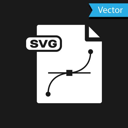 White SVG file document. Download svg button icon isolated on black background. SVG file symbol. Vector Illustration