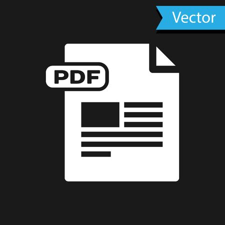 White PDF file document. Download pdf button icon isolated on black background. PDF file symbol. Vector Illustration
