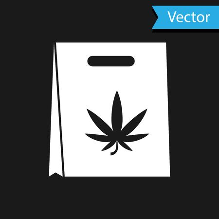 White Shopping paper bag of medical marijuana or cannabis leaf icon isolated on black background. Buying cannabis. Hemp symbol. Vector Illustration