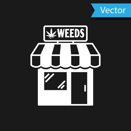 White Marijuana and cannabis store icon isolated on black background. Equipment and accessories for smoking, storing medical cannabis. Vector Illustration