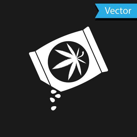 White Marijuana or cannabis seeds in a bag icon isolated on black background. Hemp symbol. The process of planting marijuana. Vector Illustration