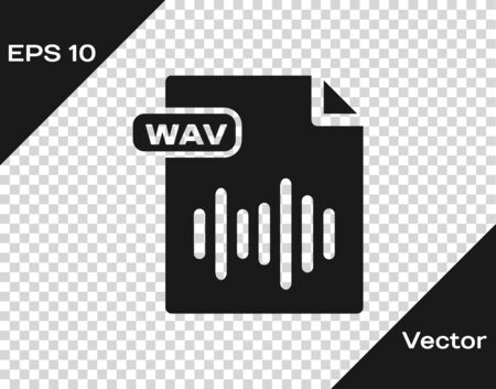 Grey WAV file document. Download wav button icon isolated on transparent background. WAV waveform audio file format for digital audio riff files. Vector Illustration