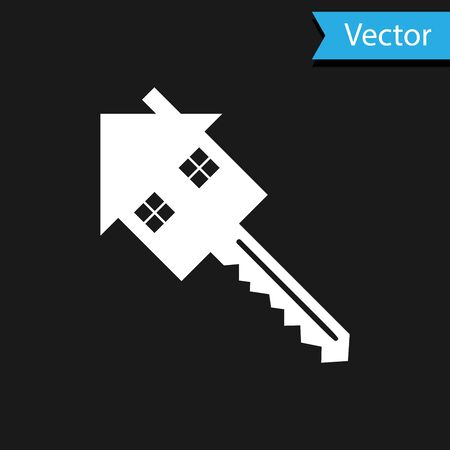 White House with key icon isolated on black background. The concept of the house turnkey. Vector Illustration Illustration