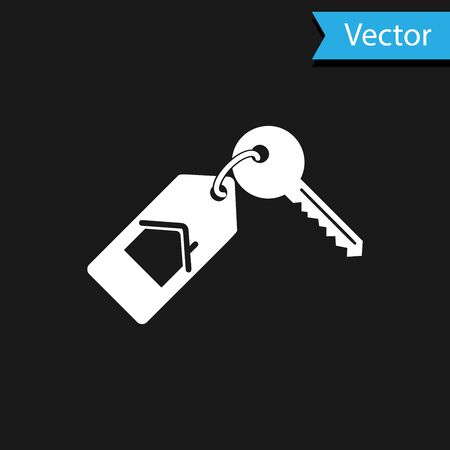 White House with key icon isolated on black background. The concept of the house turnkey. Vector Illustration