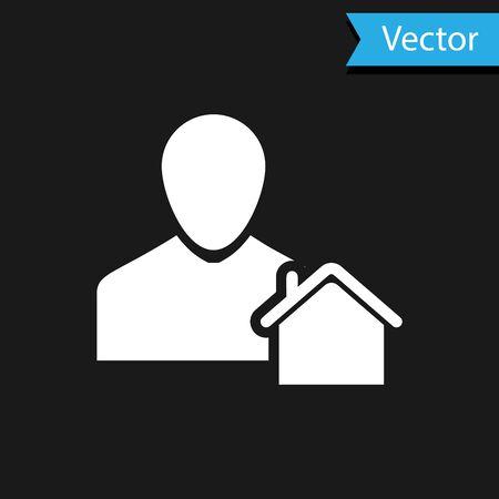 White Realtor icon isolated on black background. Buying house. Vector Illustration