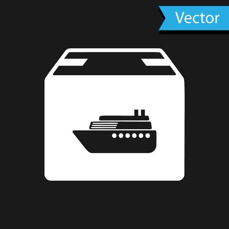 White Cargo ship with boxes delivery service icon isolated on black background. Delivery, transportation. Freighter with parcels, boxes, goods. Vector Illustration Banque d'images - 133598993