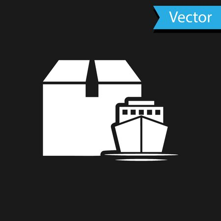 White Cargo ship with boxes delivery service icon isolated on black background. Delivery, transportation. Freighter with parcels, boxes, goods. Vector Illustration Illusztráció