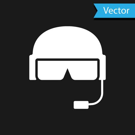 White Military helmet icon isolated on black background. Army hat symbol of defense and protect. Protective hat. Vector Illustration Ilustração