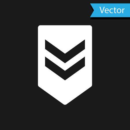 White Chevron icon isolated on black background. Military badge sign. Vector Illustration Ilustração