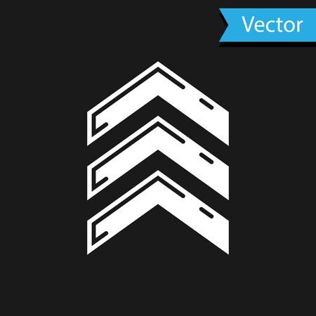 White Military rank icon isolated on black background. Military badge sign. Vector Illustration