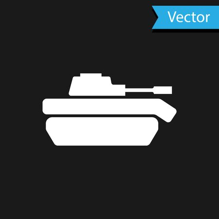 White Military tank icon isolated on black background. Vector Illustration